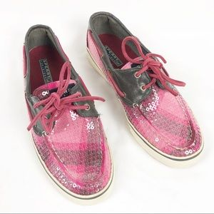 Sperry Top-Sider Pink Plaid Sequin Loafer Shoes